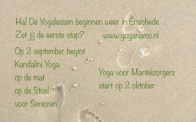 De Yogalessen beginnen weer op 2 september